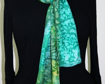 Green Silk Scarf. Olive Hand Painted Silk Shawl. Turquoise Handmade Silk Scarf SUMMER WINDS. Size 8x54. Birthday, Bridesmaid Gift.