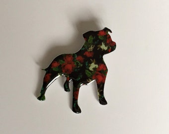Staffordshire Bull Terrier Dog Hand Crafted Resin / Acrylic Brooch - 7 cm x 6 cm