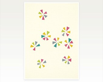 Geometric Art, Abstract, Pattern, Minimalist Decor, Colourful Print - Colour Wheels