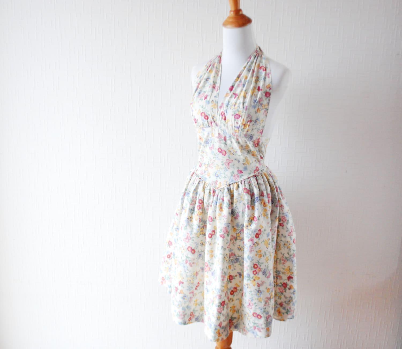 VINTAGE Blumen-Druck-Kleid aus weißer Baumwollkleid Tee