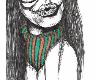"""Titled """"Bundle up"""" ink and marker illustration print"""