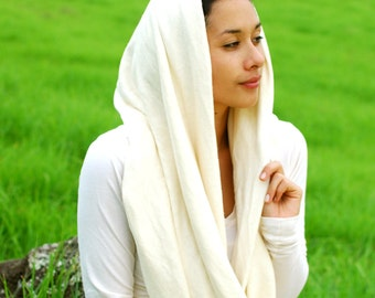Eco - Friendly Infinity Scarf - Circle Scarf - Natural Color - Organic Cotton Hemp Jersey - Organic Clothing