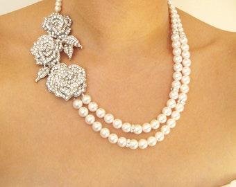 Triple Rose Bridal Necklace, Statement Wedding Jewelry, Wedding Necklace, Swarovski Pearl Bridal Jewelry, Art Deco Weddings, DAMASK ROSE