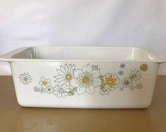 "Corning Ware Floral Bouquet Loaf Pan 9x5x3"" P-315-B, vintage loaf pan, vintage Corning Ware"