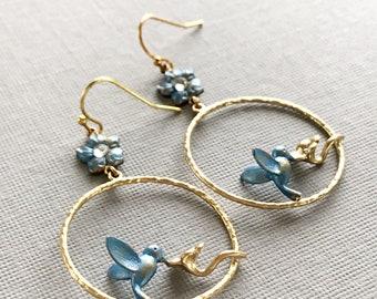 hummingbird earrings hoop earrings blue bird earrings whimsical jewelry blue enamel earrings gold hoops summer everyday jewelry HUMDINGER