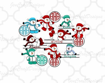 Snowman Monogram Frames SVG, Split Frame SVG,EPS Png Dxf,digital download files for Silhouette Cricut, vector Clip Art graphics Vinyl