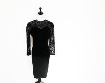 vintage little black dress / velvet with sheer leopard print, long sleeve, party dress, open back, 80s 90s