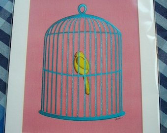 """A4 Birdcage print with  12"""" x 10"""" mount"""