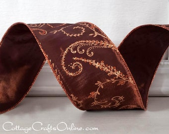 "Christmas Wired Ribbon, 2 1/2"" Copper Brown Glittered Faux Silk Filigree - TEN YARD ROLL - ""Copper Berry Vine"" #CA622a, b Wire Edged Ribbon"