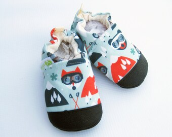 Eco-Canvas Vegan Ski Fox / non-slip soft sole baby shoes / made to order / Babies Toddlers Preschool