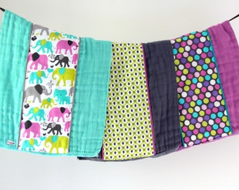 Baby Burp Cloth Gift Set of 3, Colorful Elephant Walk and Polka Dots