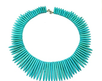 Turquoise Blue Howlite Necklace, Vintage Egyptian Statement Necklace, Cleopatra Egypt. Runway Jewelry, Howlite Jewelry