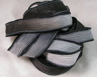 Silk Ribbon - Hand Dyed Silk Ribbon - Wrist Wrap Bracelet, Jewelry Supplies, Quintessence - Black and Grey