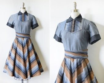50s dress, vintage 1950s chambray + chevron dress, rockabilly dress with rhinestone buttons, mid century shirt dress, medium m