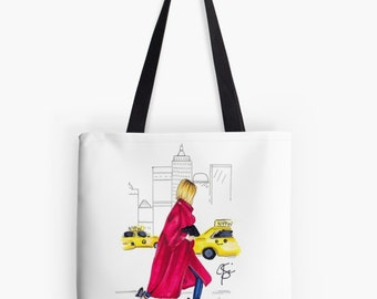 City Stroll TOTE (Fashion Illustration art  Home Decor Gift Ideas  Gifts for Her Wedding Gifts Graduation Gifts Birthday Gifts)