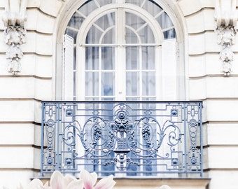 Paris Photography - Magnolia Blossoms under Balcony, Spring in Paris, Architecture Photograph, Travel Fine Art Photograph, Large Wall Art