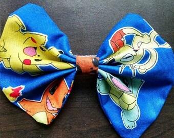 5 Inch Handmade Pokemon Hair Bow Pikachu Squirtle Bulbasaur Charmander Eevee Meowth Nintendo