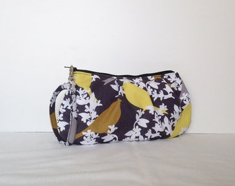 Pleated Wristlet Zipper Pouch // Clutch - Sparrow on Branches in Night