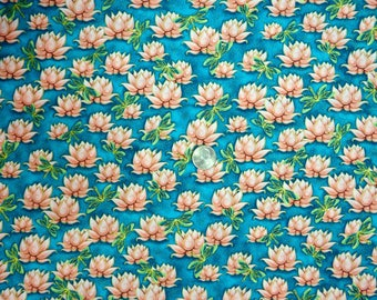 Quilting Treasures - Yuna (Calm) - 24984 Teal - Water Lilies and Dragonflies on Teal with Metallic Gold Accent - One Yard of Fabric