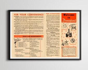"Vintage 1958 DISNEYLAND Park Brochure Poster! (24"" x 36"" or smaller) - Food - Tomorrowland - Adventureland - Walt Disney World - Disney"
