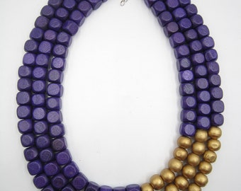 2018 Purple Necklace,Multi Strand Necklace,Chunky Necklace,Golden Necklace,Bridesmaid Gifts,Wedding Gift idears,Statement Necklace For Women