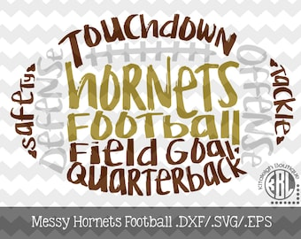 Messy Hornets Football design INSTANT DOWNLOAD in dxf/svg/eps for use with programs such as Silhouette Studio and Cricut Design Space