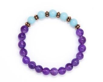 Amethyst and Amazonite Yoga Bracelet, Wrist Mala, Buddhist Jewelry - Healing Energy, Emotional Balance, Spirituality