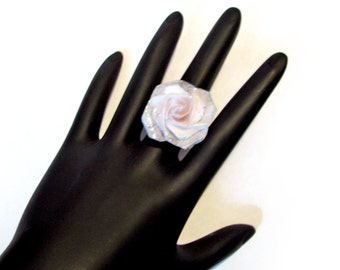 White Rose Ring Origami Rose Flower Adjustable