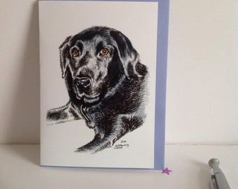 Black Labrador Card.Black Labrador illustration Card, Black Labrador Greeting Card, Labrador Card, Dog Lover Card