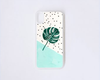 Phone X Case - Monstera iPhone Case - Philodendron Illustration iPhone X Case - Botanical iPhone Case - Rubber iPhone Case