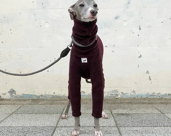 Italian Greyhound Clothing, Fleece Jammies,Jumpsuit,Romper,Onesie [Burgundy]