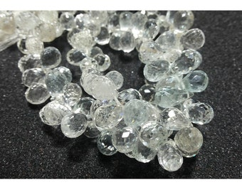 White Topaz Beads, Faceted Tear Drop Beads, 5x8mmEach, 11 Pieces