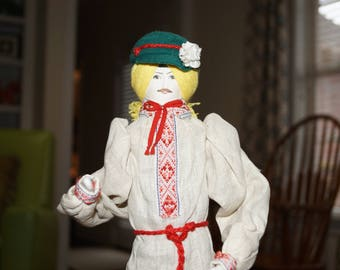 """Vintage Handcrafted Russian Male Doll-Cloth-17"""" Tall-Made in Russia"""