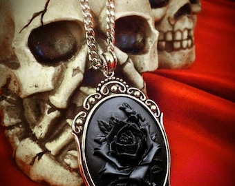 Black Rose Cameo Necklace // Black Rose Necklace