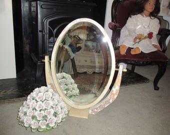 Farmhouse Chippy Swivel Vanity Mirror, Shabby chic Mirror, Vanity Mirror, Bathroom Mirror, Dresser Mirror, French country , Beveled Mirror