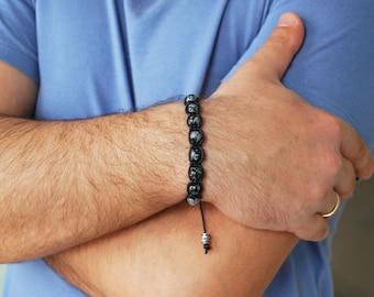 Obsidian bracelet , Mens bracelet , Beaded bracelet , For men , Boyfriend gift , Mens gift , For him , Boho bracelet , Friendship bracelet