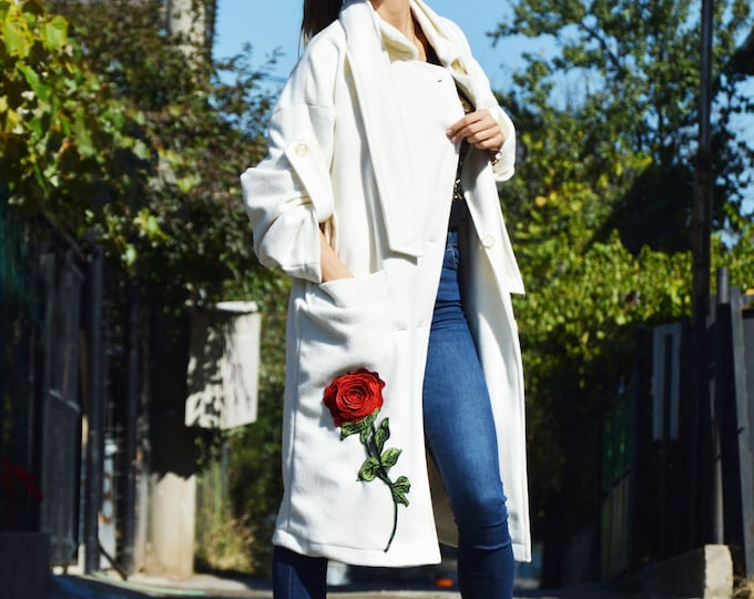 White Extravagant Maxi Coat, Embroidery Rose Flower Patch for Coat, Cashmere Sleeves Coat, Wool Loose Coat,Warm Cashmere Blend by SSDfashion