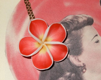 Flower Necklace, Polymer Clay, Red Hibiscus, Tiki Flower, Rockabilly Jewelry, Red Flower Pendant, Tiki Jewelry, Big Red Flower, Flower Charm