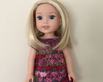 """Doll dress for 14.5"""" doll such as American Girl Wellie Wishers. Handmade, crocheted"""