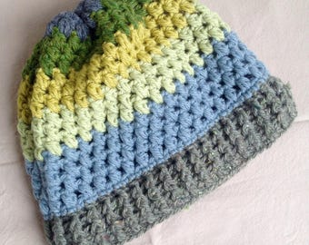 Yellow blue green crochet yarn Hat
