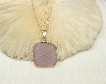 Purple Druzy Necklace, Druzy Jewelry, Lavender Drusy Pendant, Gemstone Necklace, Geode