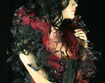 Tulle tie on shoulder shrug wrap wine and black trimmed gothic formal wedding dance bridal steampunk victorian -- Sisters of the Moon