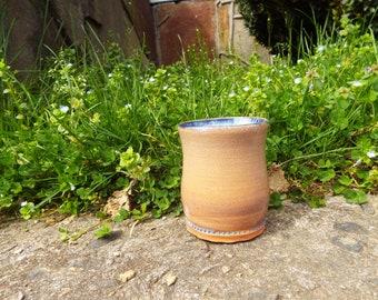 Ceramic Tumbler/Vase, Red Clay, Cobalt Blue Lining