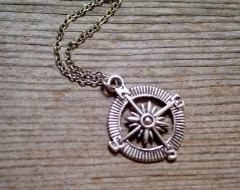 Antiqued Silver Compass Pendant Necklace, Nautical Jewelry, Silver Compass Necklace, Nautical Compass