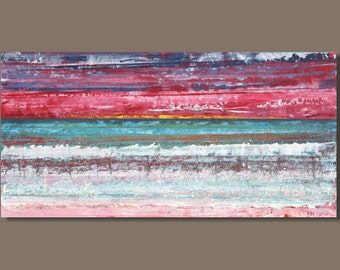 FREE SHIP abstract painting, magenta pink panoramic painting, sunset expressionist painting, seascape, modern art landscape painting 15x30