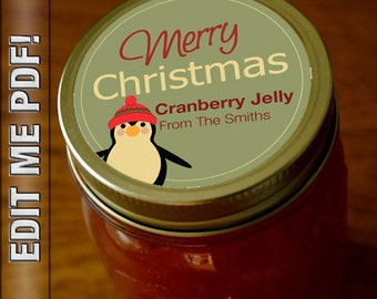"""Merry Christmas 2"""" round canning labels  Self Edit PDF digital download"""