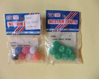 Lot of 14 15mm Berry Beads Green, Purple, Pink, White, and Orange Berry Beads by Westrim Crafts