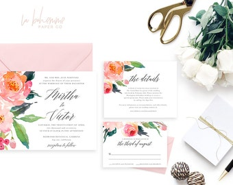 Printable Wedding Invitation Suite / Wedding Invite Set - The Mirtha Suite