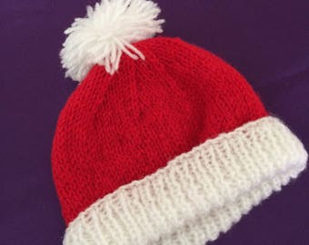 Hand knit baby Christmas hat,