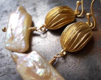 Pearl in a Nutshell Earrings - dangle earrings for women - nut walnut shell - gold organic modern - pearl earrings  pearl jewelry  gold drop